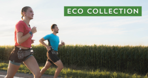 Two runners equipped with gear made of rPETwith the text ECO COLLECTION